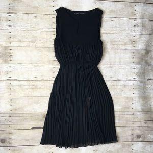 Zara Black Sleeveless Crinkle Mini Dress Career